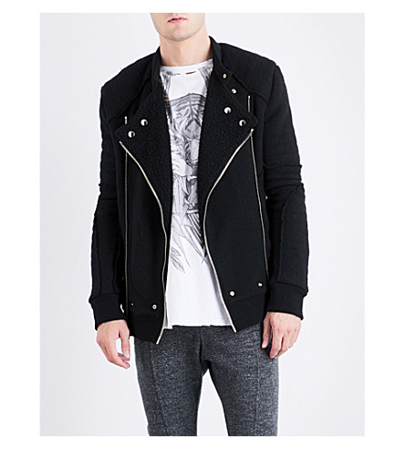 BALMAIN Biker wool-blend jacket (Black