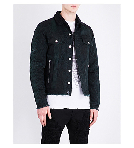 BALMAIN Python-print denim jacket (Black