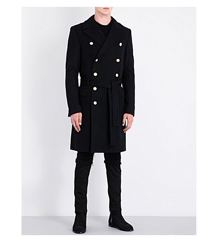 BALMAIN Double-breasted belted wool and cashmere-blend coat (Black