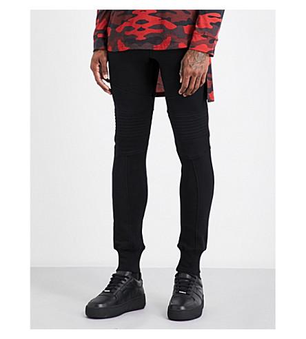 BALMAIN Biker cotton-jersey jogging bottoms (Black
