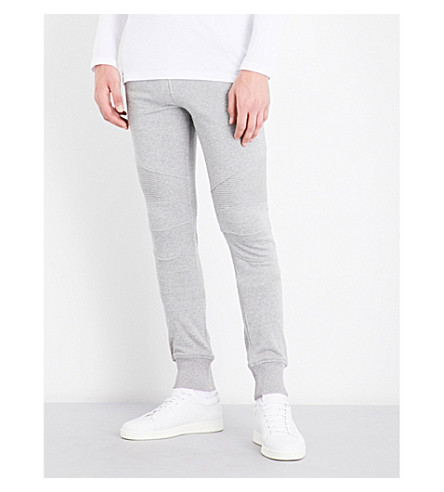 BALMAIN Biker regular-fit cotton-jersery jogging bottoms (Grey