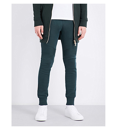 BALMAIN Drawstring cotton-jersey jogging bottoms (Green