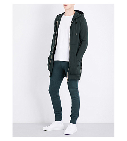 BALMAIN Long-line cotton hoody (Green