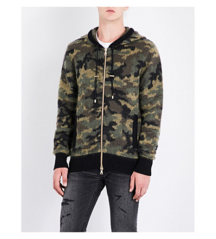 BALMAIN Camouflage knitted hoody (Camouflage