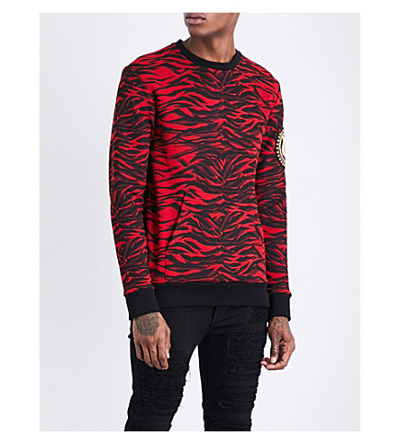 BALMAIN Tiger-print cotton-jersey sweatshirt (Red+black