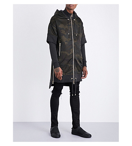 BALMAIN Camouflage-print satin and cotton-jersey jacket (Camouflage