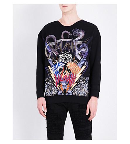 BALMAIN Animal and logo-embroidered cotton-jersey sweatshirt (Black