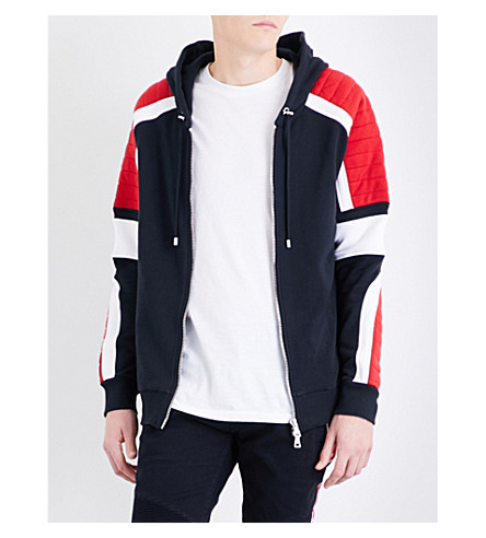 BALMAIN Ribbed contrast-panel cotton-jersey hoody (Blue
