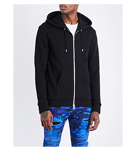 BALMAIN Tiger-print cotton-jersey hoody (Black
