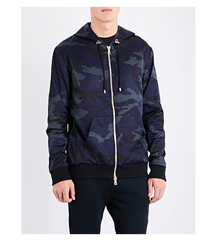 BALMAIN Camo-print shell jacket (Navy