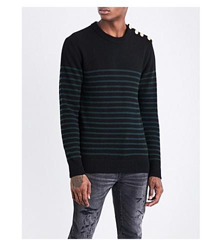 BALMAIN Striped cashmere jumper (Black