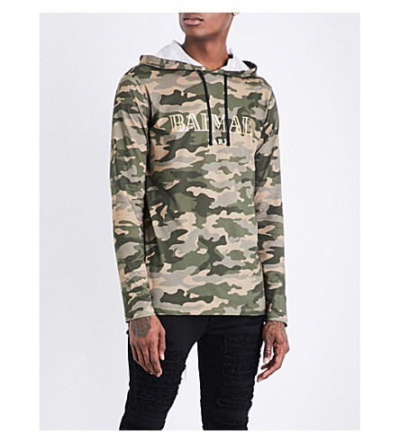 BALMAIN Camouflage cotton-jersey hoody (Camouflage