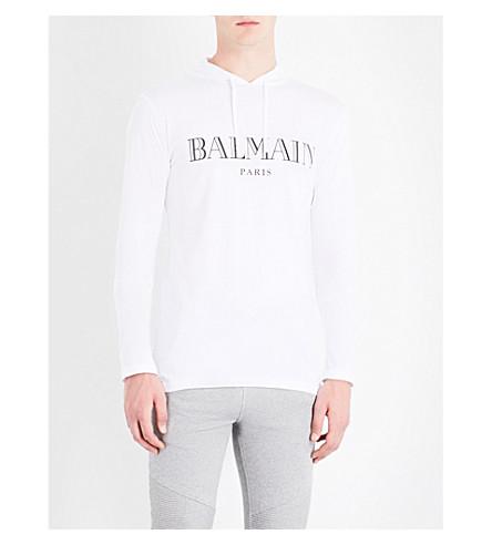 BALMAIN Logo-print cotton-jersey hoody (White