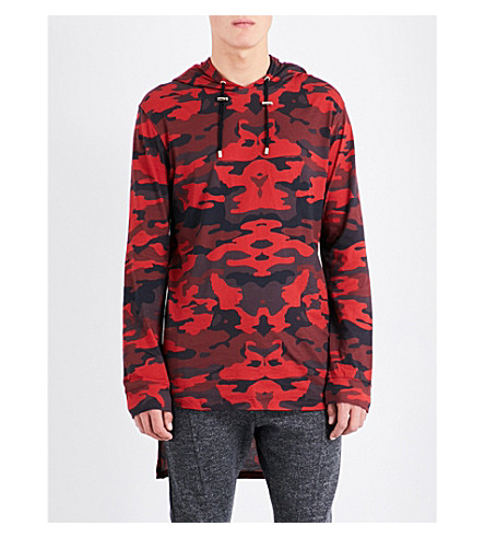 BALMAIN Camo-print cotton-jersey hoody (Red+black