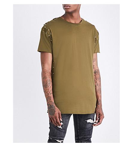 BALMAIN Lace-up cotton-jersey T-shirt (Khaki