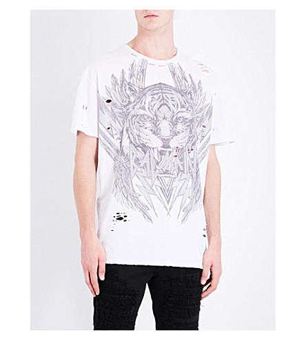 BALMAIN Tiger and logo-print cotton-jersey T-shirt (White
