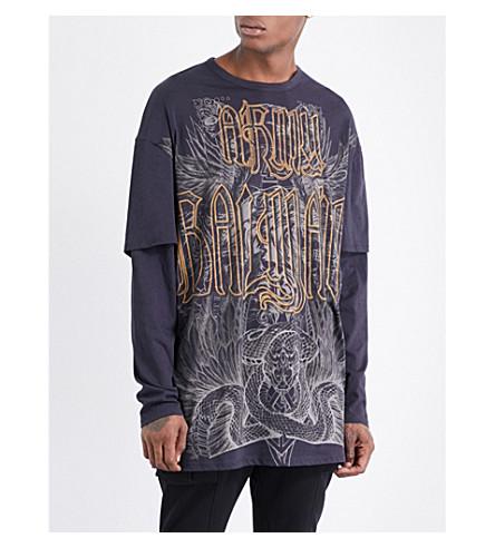 BALMAIN Oversized printed cotton-jersey top (Black