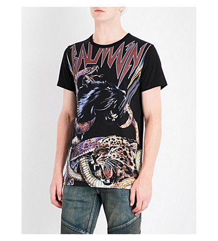 BALMAIN Animal and logo-print cotton T-shirt (Black