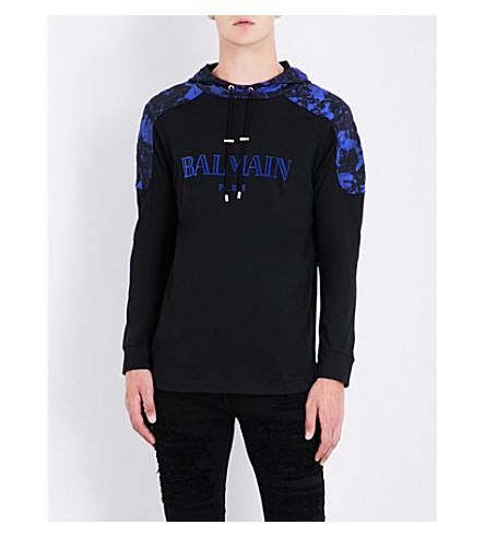 BALMAIN Printed-shoulders cotton-jersey hoody (Marine+black