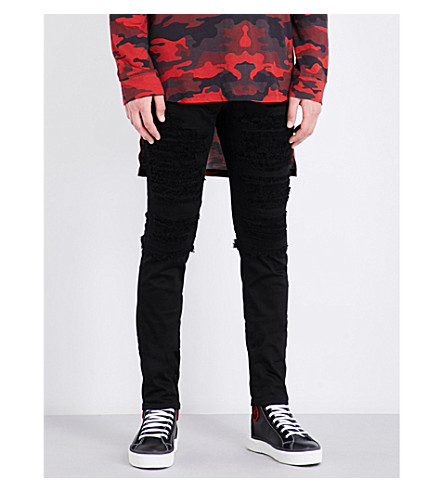 BALMAIN Slim-fit distressed stretch-denim jeans (Black