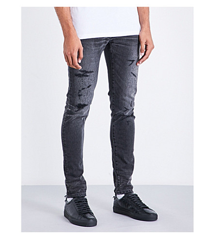 BALMAIN Slim-fit skinny distressed jeans (Black