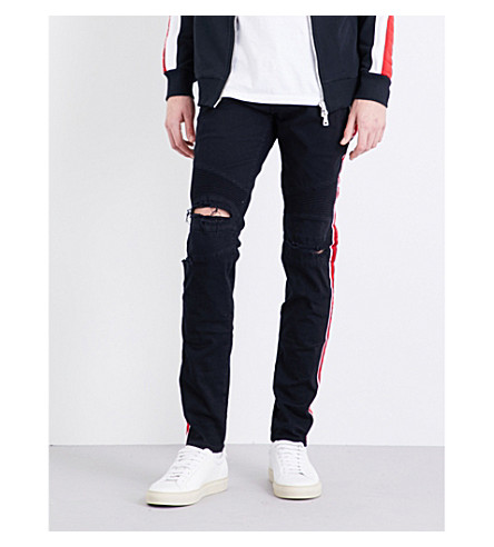 BALMAIN Side-stripe slim-fit tapered jeans (Blue