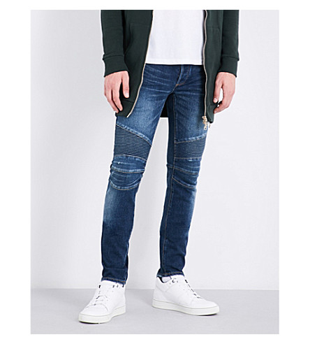 BALMAIN Biker slim-fit skinny mid-rise jeans (Blue