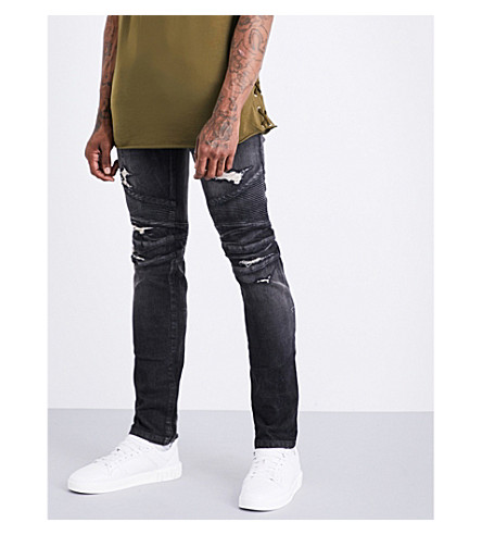 BALMAIN Biker-detailed distressed slim-fit skinny jeans (Black