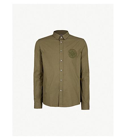 BALMAIN Logo-embroidered slim-fit cotton shirt (Kaki