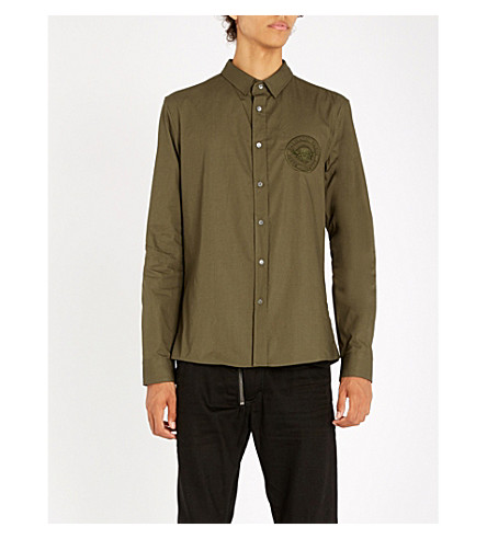 BALMAIN Logo-embroidered slim-fit cotton shirt (Kaki