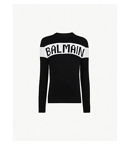 BALMAIN Logo-intarsia cotton-knitted jumper (Noir+blanc