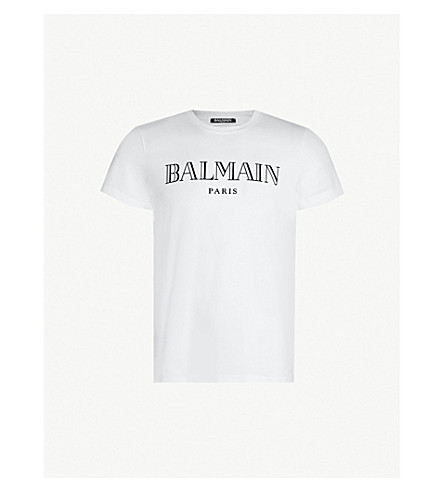 BALMAIN Logo-print cotton-jersey T-shirt (White black