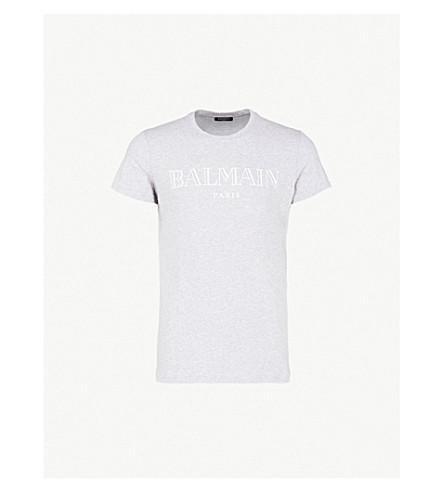 BALMAIN Logo-print cotton-jersey T-shirt (Gris clair