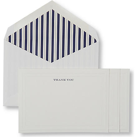 Indigo Stripe set of ten thank you notecards