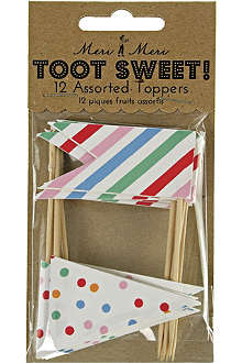 MERI MERI Toot Sweet pack of 12 assorted food toppers