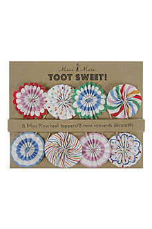 MERI MERI Toot Sweet set of eight mini pinwheel toppers