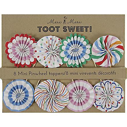 MERI MERI Toot Sweet set of eight mini pinwheel toppers