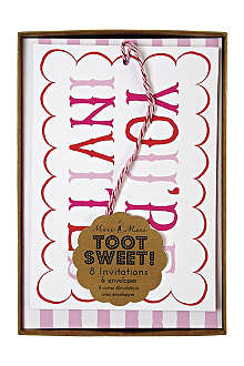 MERI MERI Toot Sweet pack of eight pink invitations