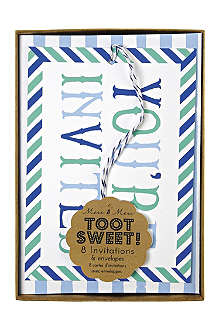 MERI MERI Toot Sweet pack of eight blue invitations