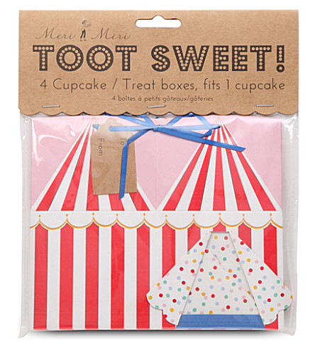 MERI MERI Toot Sweet set of four cupcake boxes