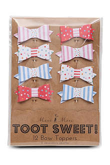 MERI MERI Toot Sweet set of 12 bow cake toppers