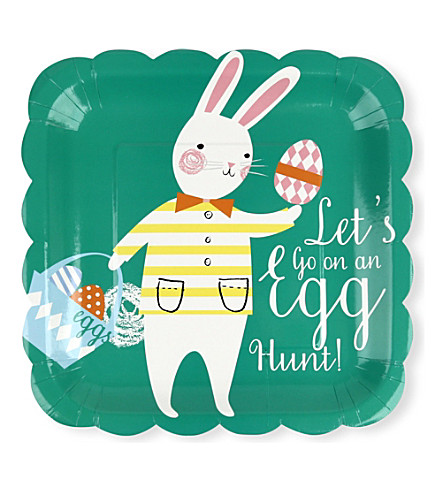 MERI MERI Funny Bunnies large square plates pack of 12