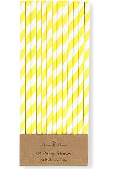 MERI MERI Yellow and white party straws pack of 24