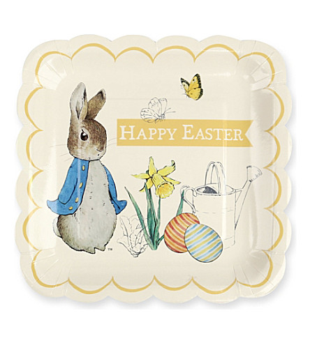 MERI MERI Peter Rabbit large square plates pack of 12