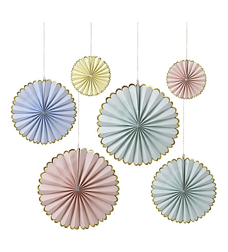 MERI MERI Pastel pinwheel decorations pack of 6