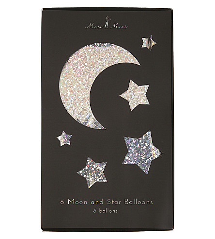 MERI MERI Moon & Star balloons pack of 6