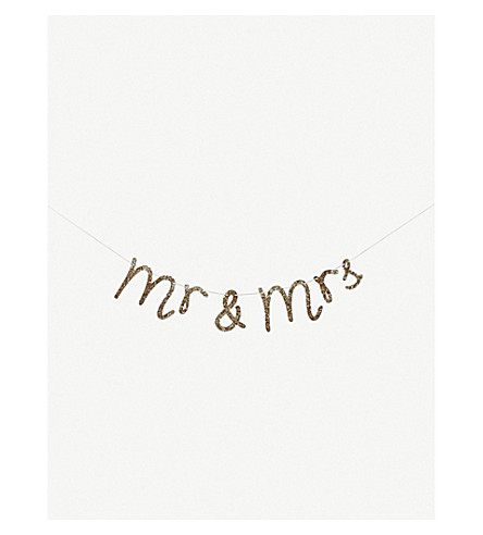 MERI MERI Mr and Mrs glittered garland 1.52m