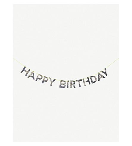 MERI MERI Happy Birthday glittered garland 2.44m