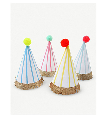 MERI MERI Pompom paper party hats pack of eight