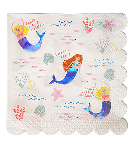 MERI MERI Let's Be Mermaids paper napkins 16 pack